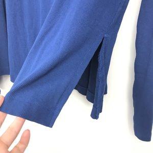 Free People Tops - Free People Blue Curled Mock-neck Sheer Shoulder